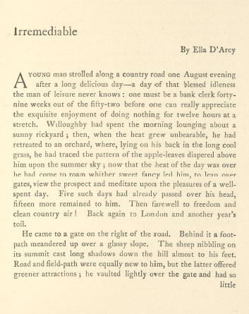 A sample page from Irremediable by Ella D'Arcy