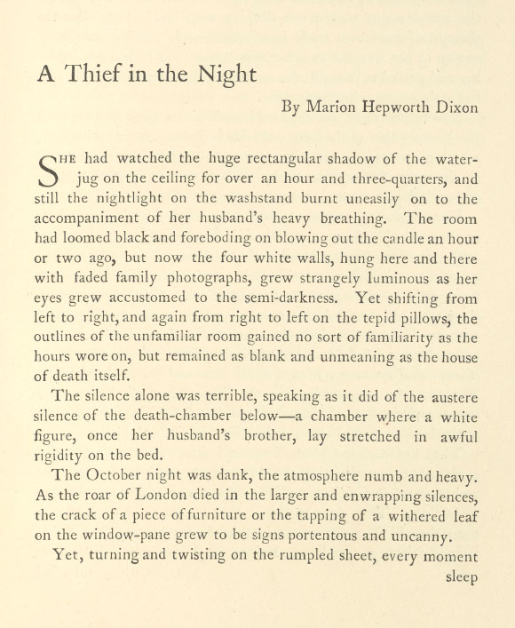 A sample page from A Thief in the Night by Marion Hepworth Dixon