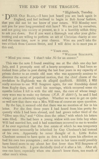 A sample page from The End of the Tragedy by Mabel E. Wotton