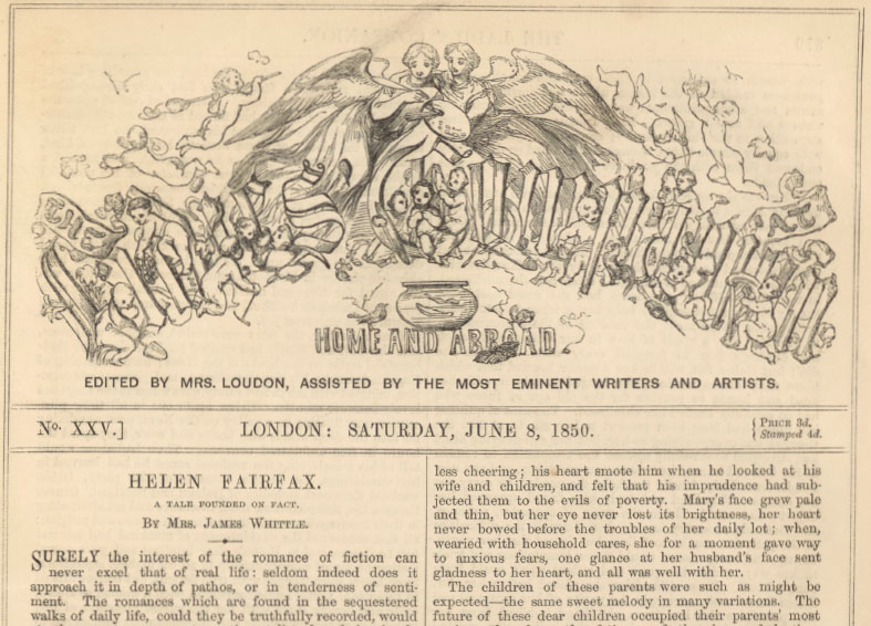 A sample page from Helen Fairfax, continued by Mrs. James Whittle
