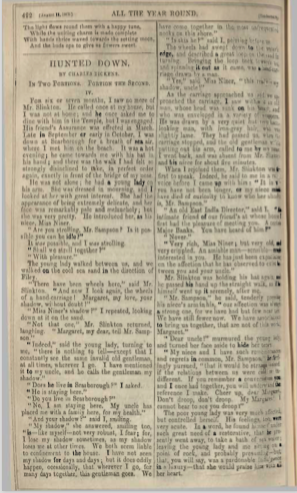 A sample page from Hunted Down, Portion the Second by Charles Dickens