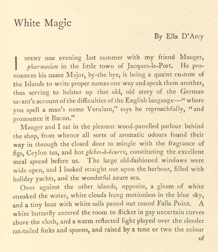 A sample page from White Magic by Ella D'Arcy