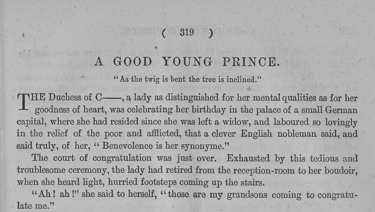 A sample page from A Good Young Prince by L. W.