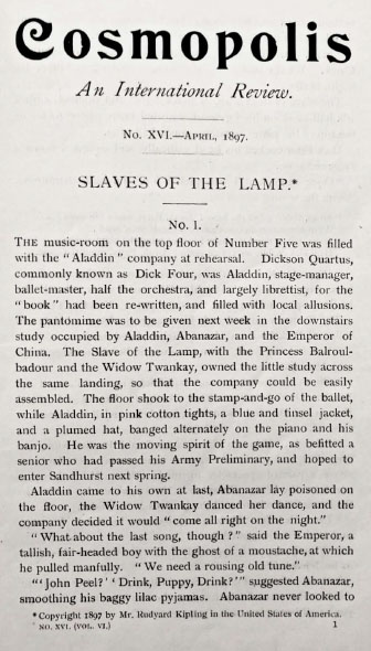 A sample page from Slaves of the Lamp by Rudyard Kipling
