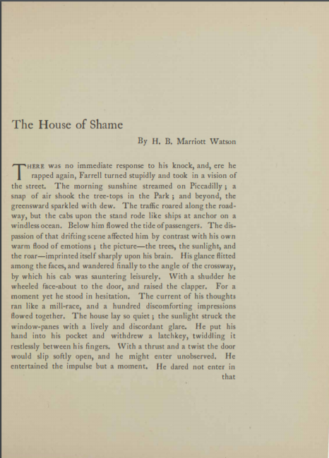 A sample page from The House of Shame by H. B. Marriott Watson