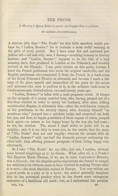 A sample page from The Prude, A Warning to Young Ladies in General, and Engaged Ones in Particular by George Augustus Sala