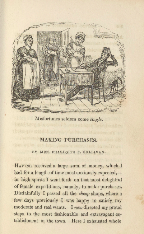 A sample page from Making Purchases, or Misfortunes Never Come Single by Charlotte F. Sullivan