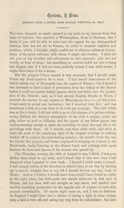 A sample page from Curious if True. (Extract from a Letter from Richard Whittingham, Esp.) by Elizabeth Cleghorn Gaskell