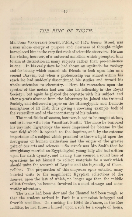 A sample page from The Ring of Thoth by Arthur Conan Doyle