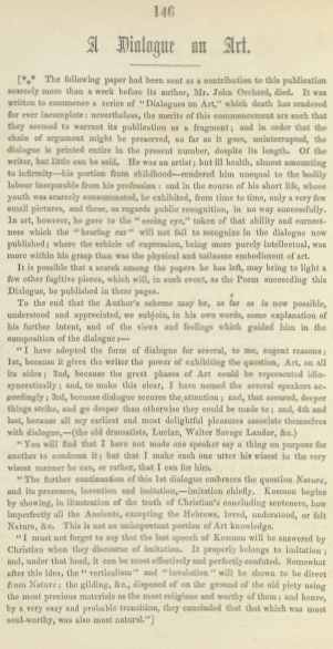 A sample page from A Dialogue on Art by John Orchard