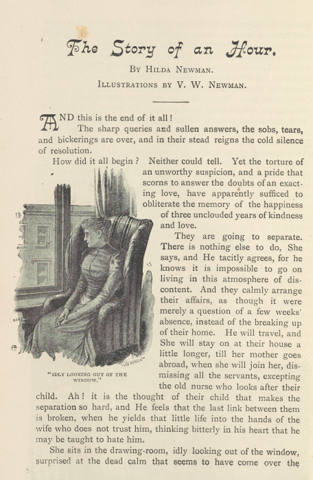 A sample page from The Story of an Hour by Hilda Newman