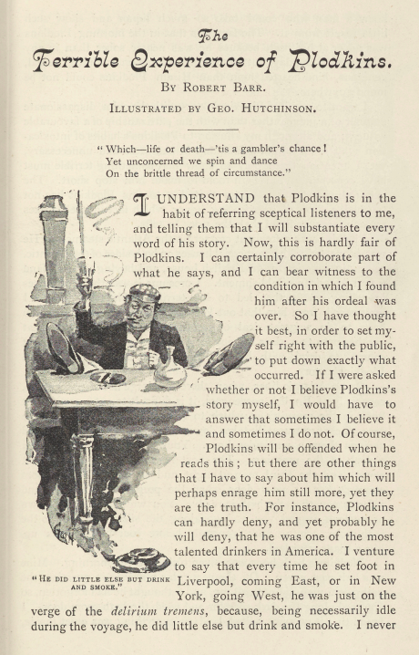 A sample page from The Terrible Experience of Plodkins by Robert Barr
