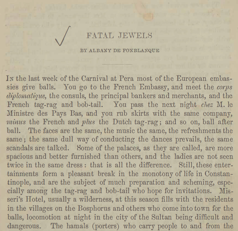 A sample page from Fatal Jewels by Albany de Fonblanque