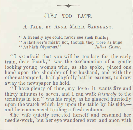 A sample page from Just Too Late by Anna Maria Sargeant
