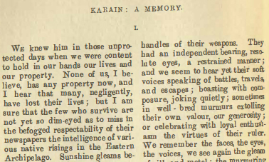 A sample page from Karain: A Memory by Joseph Conrad