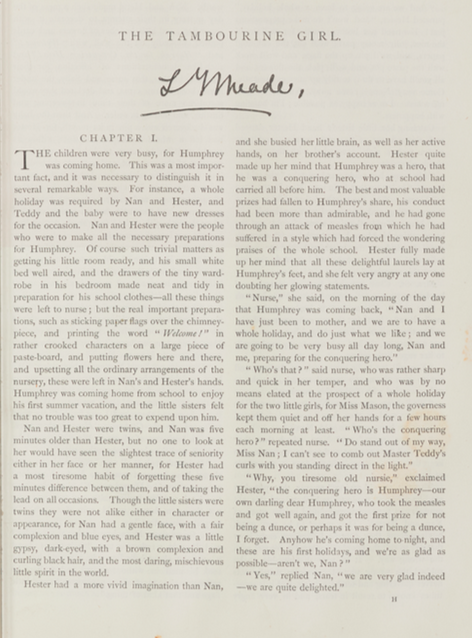 A sample page from The Tambourine Girl by L. T. Meade
