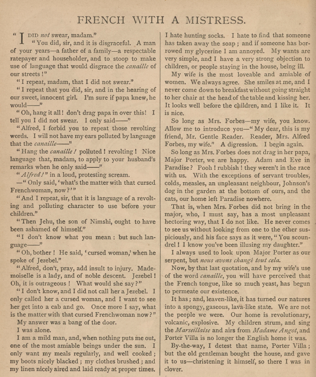 A sample page from French with a Mistress by George Manville Fenn