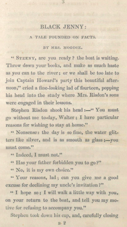 A sample page from Black Jenny: A Tale Founded on Facts by Mrs. Moodie