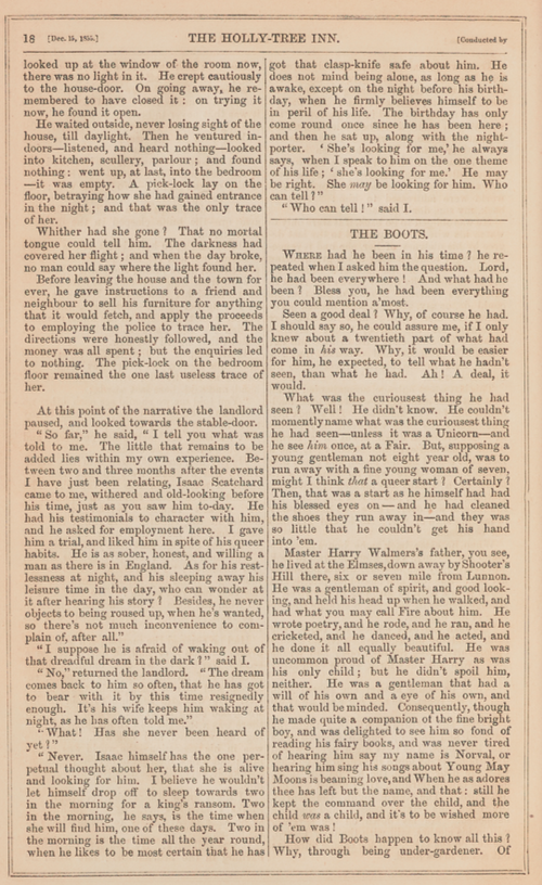 A sample page from The Holly-Tree Inn, Part 3: The Boots by Charles Dickens