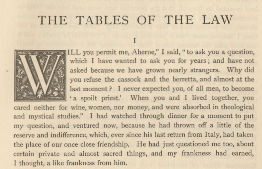 A sample page from The Tables of the Law by William Butler Yeats