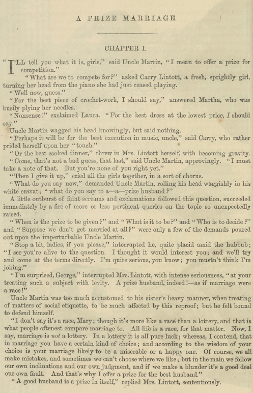 A sample page from A Prize Marriage, Part 1 by Anonymous