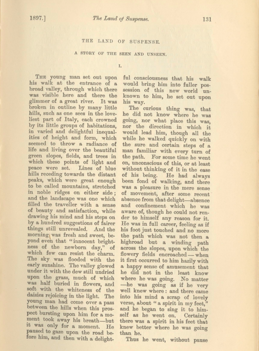 A sample page from The Land of Suspense: A Story of the Seen and Unseen by Anonymous