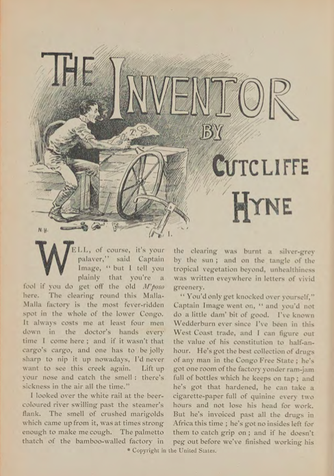 A sample page from The Inventor by Cutcliffe Hyne