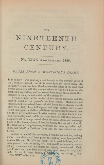 A sample page from Pages from a Work Girl's Diary by Beatrice Potter