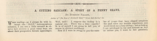 A sample page from A Cutting Sarcasm: A Story of a Penny Shave by Burnett Fallow