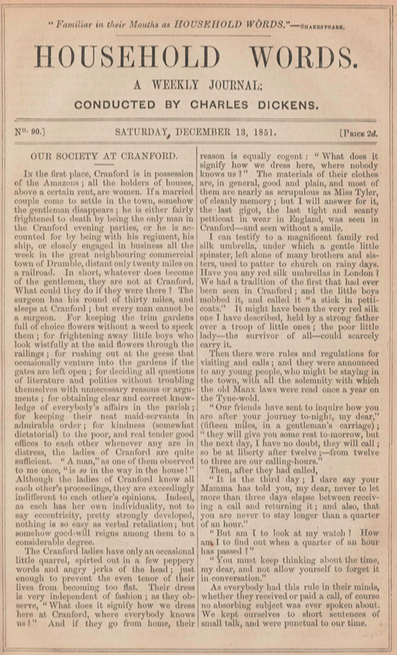 A sample page from Our Society at Cranford by Elizabeth Cleghorn Gaskell